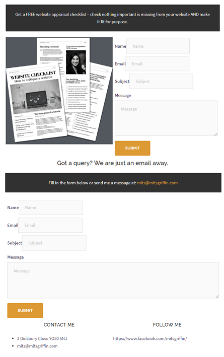 Recreated opt-in and contact forms section with Gutenberg