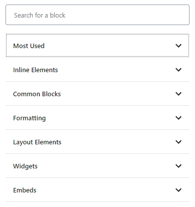 The Block Category Menu