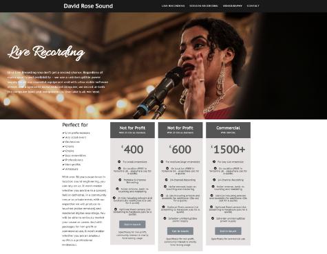 Screenshot David Rose Sound website