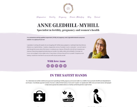 Screenshot Anne Gledhill-Myhill Website